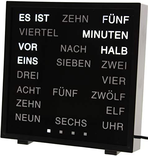 United Entertainment - LED Wort Uhr / Wörter Uhr / Uhr in Worten / Word Clock Deutsch - Schwarz (Wort Zeit)