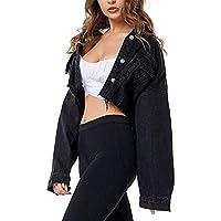 Xinxinyu Abrigo Vaquero Hueco Corta Niña, Atractivo Borla Mezclilla Blusas Tops con Cuello Vuelto, Mujeres Casual Mira Alto Chaqueta Otoño Camisas (XL, Negro)