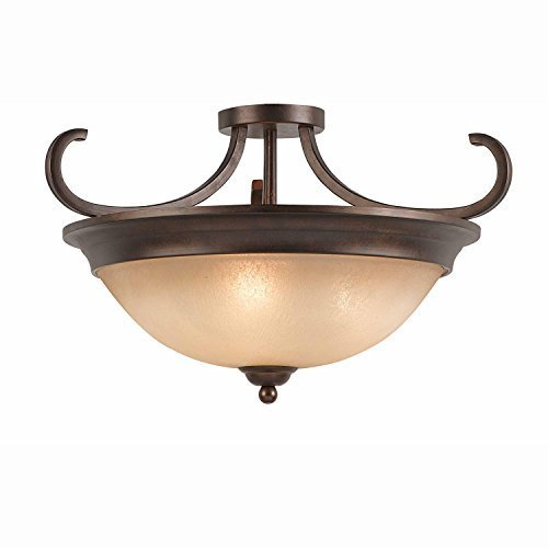 Lumenno Lighting 1001-01-20 Semi-Flush Mount with Hand Painted Tea Stained Glass Shades, Bronze Finish by Lumenno (20 Semi Flush)