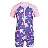 iiniim Baby Mädchen Tankini Bikini UV-Schutz Badeanzug mit Flamingo Druck Einteiler Bodysuit Overall Sommer Strand Bademode Schwimmanzug Gr.50-92 Rosa&Lavendel 50-68/0-6 Monate