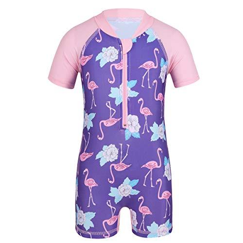 Einteiler Badeanzug Kurzarm Schwimmanzug Badeshorts Blumen und Flamingo Gedruckt mit Reißverschluss Säugling Jumpsuit Rosa+Lila 0-6 Monate ()
