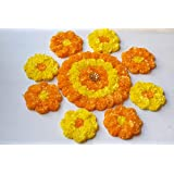 Anaya Studio Artificial Marigold Flower Rangoli For Wall And Floor Decor Reusable Diwali Decoration (1 Big 12 Inch Round Mat And 8 Small 6 Inch Flower Shape Mat) (Yellow And Orange)