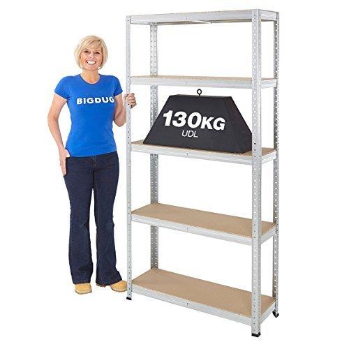 garage-shelving-boltless-galvanised-storage-shed-home-130kg-udl-5-shelves-steel-racking-by-bigdug