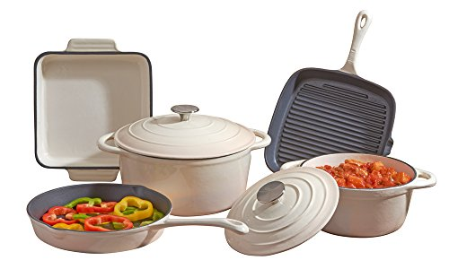 Cooks Professional Deluxe Cast Iron Cookware Complete 5 Piece Cooking Set. (Cream)