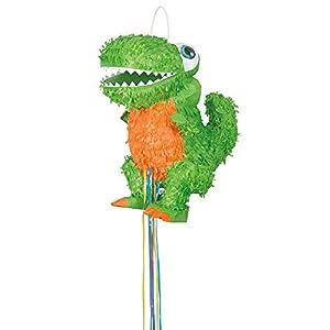 Unique Party- Piñata dinosaurio T-Rex para tirar, Color verde (65996)