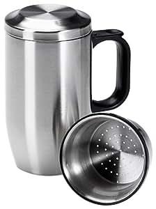 Isosteel VA-9565 Tee-Isolierbecher 0,4 L aus doppelwandigem 18/8 Edelstahl mit Siebeinsatz, Deckel und Anti-Rutsch-Boden