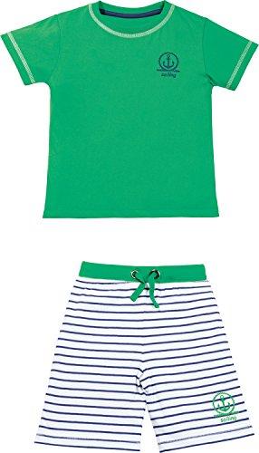 Kinderbutt Shorty mit Druckmotiv Single-Jersey grün-Marine-weiß Größe 98/104