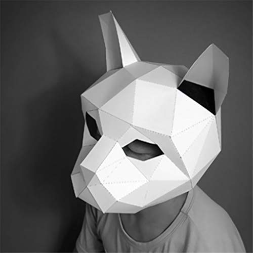 Tier Rave Kostüm - bloatboy ✅ Handbuch DIY Tiermaske, Freischnitt Gefalteten Papier 3D Tier Maske - DIY Maßgeschneiderte Tiermaske für Halloween, Festivals Parteien Verkleide Requisiten (E)