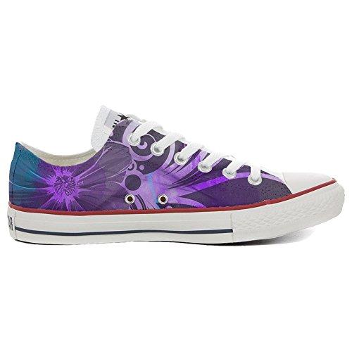 Lila Converse Sneakers (Converse All Star personalisierte Schuhe - Handmade Shoes - Slim lila Bl�Ten - TG39)