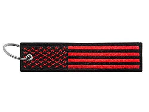 Flagge Schlüsselanhänger mit Schlüsselring, EDC für Motorrad, Roller, Auto und Geschenke (USA Thin Blue Line), Usa (Red and Black)