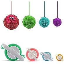 Pom Pom Maker, 4 Tamaños Fluff Ball Weaver Needle PomPom Maker Juegos-DIY Pompoms Artesanía Doll haciendo Kits-Hilado de lana Knitting Craft Tool Set Fabricante de pom-pom para niños y adultos
