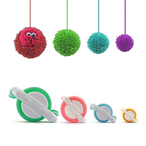 Pom Pom Maker, 4 Größen Fluff Ball Weaver Nadel PomPom Maker Sets-DIY Pompoms Handwerk Puppe Making Kits -Wool Garn Knitting Handwerk Werkzeug Set Pom-Pom Maker für Kinder & Kinder oder Erwachsene (Kleidung Rosa Herzen)