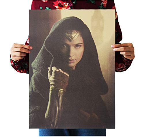 PWERWOTAM Retro-Anime-Poster Aus Papier - Wonder Woman Dc - Cudi-Poster/Vintage Home Wandaufkleber Dekor 51 * 35,5 cm