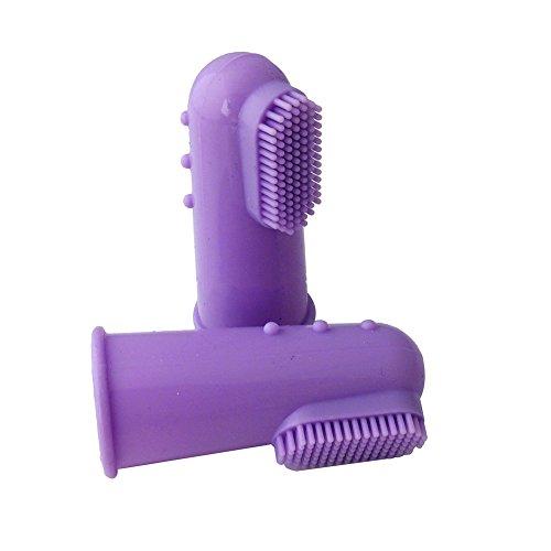 Huhuswwbin Silikon-Zahnbürste für kleine bis große Hunde und Katzen, Violett