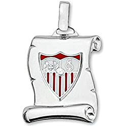 Colgante pergamino escudo Sevilla FC plata de ley 21mm. [8539]