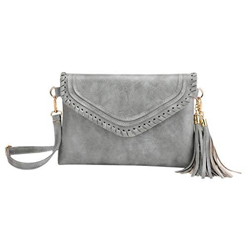 Produp Mode Frauen Umhängetasche Haspe Einfarbig Quaste Umhängetaschen Handtasche Handytasche
