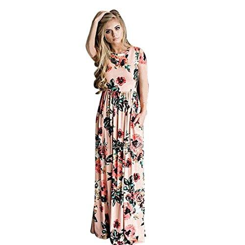 Kleider Damen Floral Print Kurzarm Lange Maxi Kleid Von Xinan (S, Rosa) (Damen Kleid Maxi Spitze)