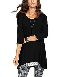 901a71d5c3d217 ELFIN Damen Casual Loose T-Shirt Kleid Rundhals Oberteile Longshirt
