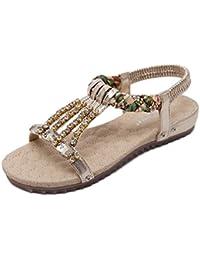 Minetom Mujer Verano Elegante Bohemia Abalorios Diamantes De Imitación Sandalias Chanclas Fashion Trenza Zapatos Planos