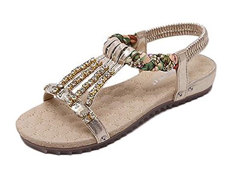 Tomsent 2017 Femmes Filles Été Plage Confortableable Chaussures Bohemian Strass Sandales Plat Peep Toe Flip Flops Or EU 38