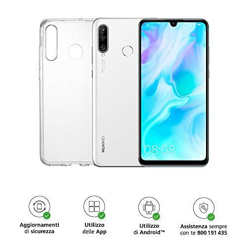 Huawei P30 Lite (White) Smartphone + cover trasparente, 4GB RAM, memoria 128 GB, Display 6.15' FHD+, Tripla fotocamera posteriore da 48+8+2 MP, fotocamera anteriore 24 MP [Versione Italiana]