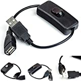 Garciayia Cavo USB Maschio-Femmina con Interruttore ON/off Cavetto prolunga per USB Lamp USB Fan LED Light Strip Linea di Alimentazione 2A Corrente (Colore: Nero)