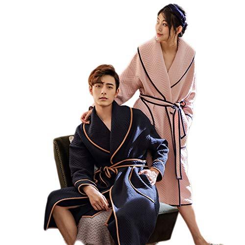 Unbekannt LINGZHIGAN Winter Paar warme Pyjamas koreanische Lange Strickjacke Damen Stricken Verdickung Robe männlichen Bademantel (Design : Men, größe : XL) -
