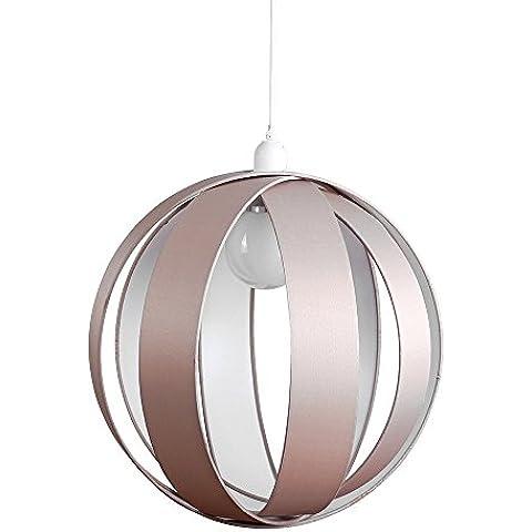 MiniSun – Moderna pantalla de lámpara colgante de techo con forma de globo, de gran dimensión y con bandas de tela gris pardo