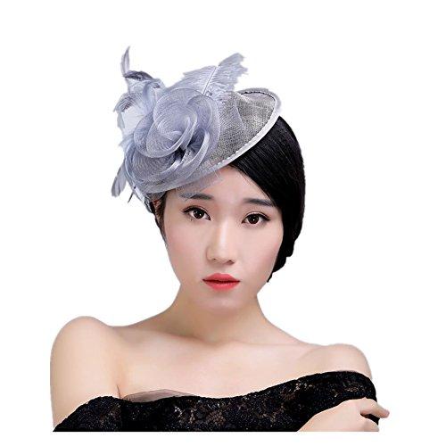 Cappello con la piuma Bibi maglia cappello ornato di fiori con la piuma Columbia elegante fiore retrò coperto di fiori (viola) - Ornato Spilla Pin