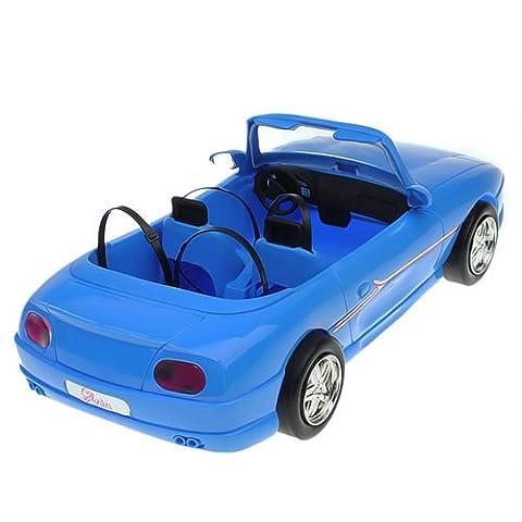 Gazechimp 4 Sièges Bleu Jouet Cabriolet Voiture de Course Décapotable Pour Poupée Doll