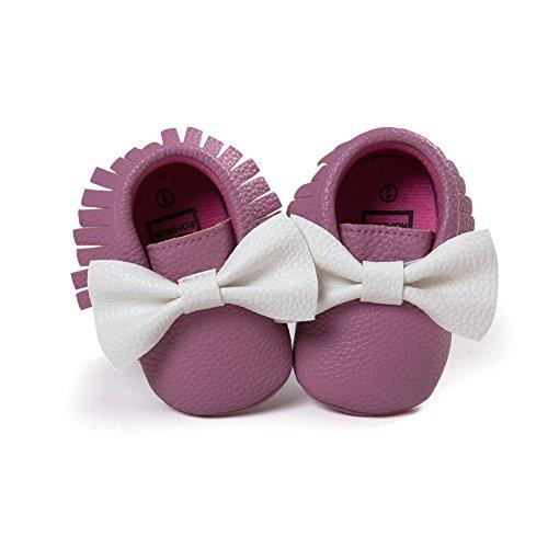 ESHOO Lovely Kleinkind Baby Bowknots Tassel Mokassins Anti-Rutsch-Schuhe Prewalker Violett+Weiß