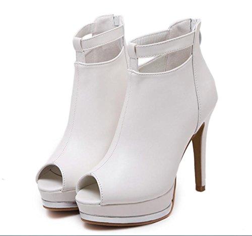 GS~LY Di pesce bocca scarpe alta piattaforma tacco stiletto Black