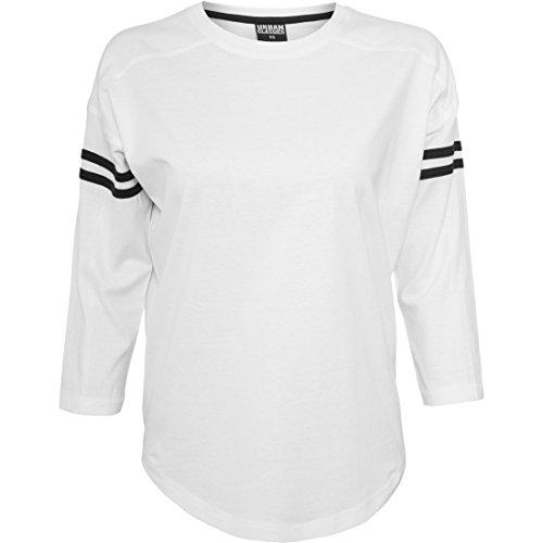 Urban Classics Ladies Sleeve Striped Longsleeve Tee Damen Langarm Shirt weiß-schwarz white-black, XS