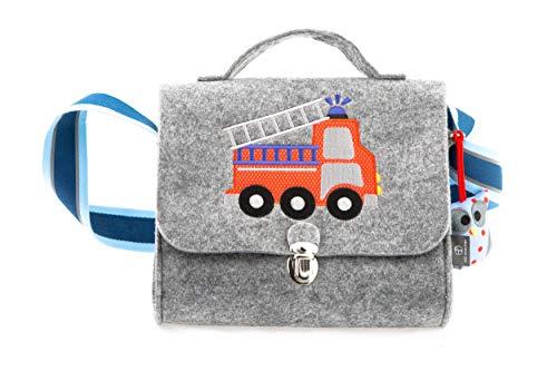 Kindergartentasche aus Filz von Stil-Macher | Feuerwehr | -Weicher Filz- reflektierender Schultergurt für mehr Sicherheit - Filztasc...