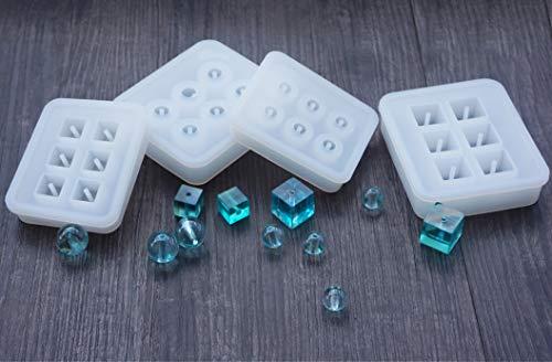 Daimay gioielli stampi per colata silicone stampo per perle piazza rotonda stampi in resina con foro sporgente gioielli in resina per fare strumenti artigianali fai da te  - 4 confezioni - diametro da 12 mm a 16 mm