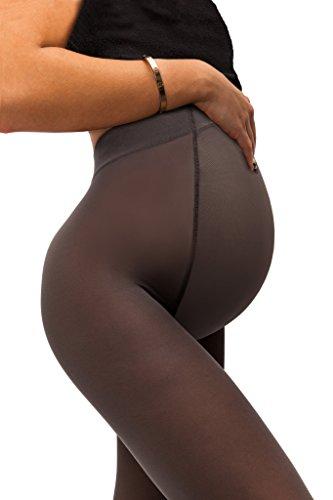 sofsy Opaque Umstandsstrumpfhose - Super komfortable Unterstützung Strumpfhosen für alle Phasen der Schwangerschaft 50 Den [Hergestellt in Italien] Grey 3 - Medium - Drei-phasen-linie