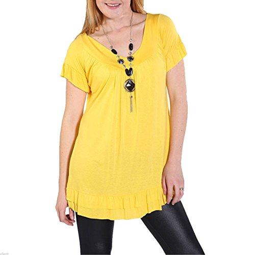 Janisramone Damen T-Shirt, Einfarbig schwarz * Einheitsgröße Gelb