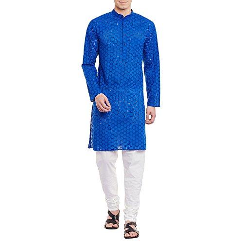 ShalinIndia Herren Bestickt Cutwork Kurta Maschine Baumwollstickerei, Brust 50 Zoll, XXL, Blau (Male Falten-shorts Casual)