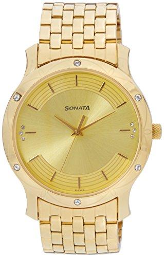 41T GNhfNyL - Sonata 7107YM04 Sitara Gold Mens watch