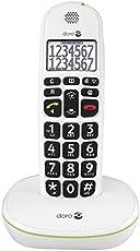 Doro PhoneEasy 110 DECT Schnurlostelefon (große Schrift und große Zahlen, optische Anrufsignalisierung) weiß
