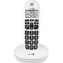 Doro PhoneEasy 110 DECT - Teléfono inalámbrico para personas mayores (pantalla y números grandes, señalización de llamada óptica), color blanco