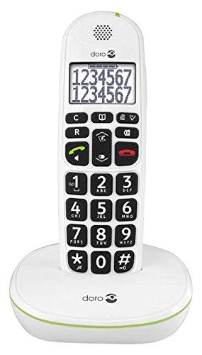 Doro PhoneEasy 110 DECT - Teléfono inalámbrico para personas mayores (pantalla y números grandes, señalización de llamada óptica), color blanco (importado)