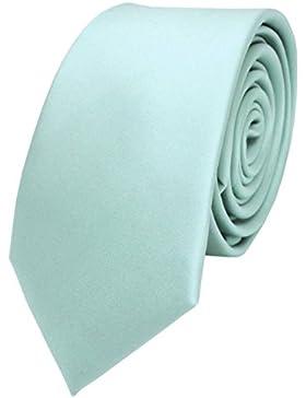 schmale TigerTie Satin Krawatte in mint blassmint grün einfarbig - Binder Schlips Tie Polyester
