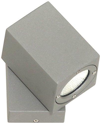 Ranex 5000.482 LED Wand Außenleuchte, Spot / Aluminium-Glas / grau und quadratisch