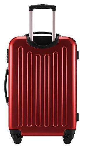 HAUPTSTADTKOFFER® 3er Hartschalen Kofferset · Handgepäck 45 Liter (55 x 35 x 20 cm) + Koffer 87 Liter (63 x 42 x 28 cm) + Koffer 130 Liter (75 x 52 x 32 cm) · Hochglanz · Zahlenschloss · CHAMPAGNER Rot