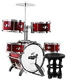 Schlagzeug mit Hocker Drumset für Kinder - 5 Trommeln + Becken - Rot
