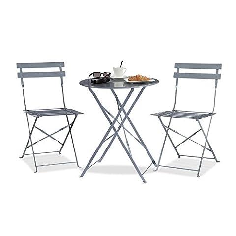 Relaxdays Ensemble table et chaises de bistrot ronds 60 x 60 cm pliants en métal jardin extérieur, gris