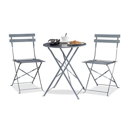 Küche Terrasse Möbel (Relaxdays Bistrotisch mit 2 Stühlen, Klappbar, Rund 60x60 cm, Metall, Outdoor, Garten Bistroset 3 Teilig, Wetterfest, Grau)