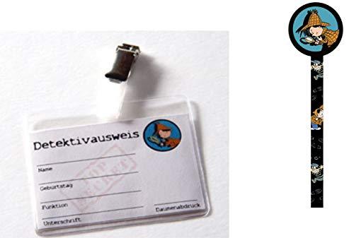 Party Großhandel 12 x Detektivausweis Detektiv Flo mit Clip und Hülle + 1 Bleistift Detektiv