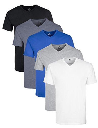 Lower East Herren T-Shirt mit V-Ausschnitt, 5er Pack, Mehrfarbig (Weiß/Schwarz/Blau/Grau/Rauchblau), XX-Large (Baumwoll-t-shirt Weiches)